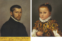 Giovanni Battista Moroni: Portrait of a Twenty-nine-year-old Man, 22 3/8 x 17 1/2 inches, 1567 (left); Portrait of a Little Girl of the Redetti Family, 15 3/4 x 12 5/8 inches, circa 1570 (right)