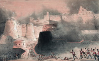 The storming of Kabul Gate by the British in 1839; nineteenth-century English watercolor