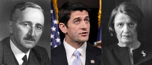 Friedrich Hayek, Paul Ryan, Ayn Rand.jpg