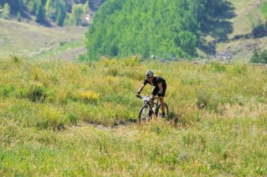 Lance Armstrong at the Power of Four Mountain Bike Race in Aspen, Colorado, August 25, 2012