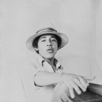 Barack Obama posing for the camera during his freshman year at Occidental College, Los Angeles, 1980