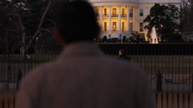 2016 director Dinesh D'Souza in front of the White House