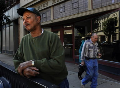 Steelworker Steve Jones in downtown Steubenville, Ohio to check his voter registration forms, September 20, 2012