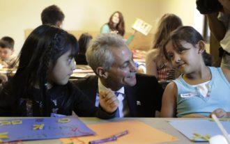 Rahm Emanuel at a temporary day care during the Chicago teachers strike, September 10, 2012