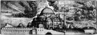 A woodcut of the Süleymaniye mosque in Istanbul by Melchior Lorichs, 1570