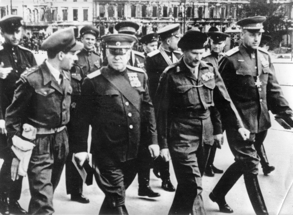 Soviet Marshal Georgy Zhukov (center left) and British Field Marshal Bernard Montgomery (center right), Berlin, May 1945