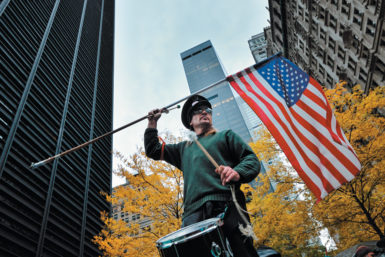 An Occupy Wall Street protester at Zuccotti Park before it was raided by police, New York City, November 13, 2011
