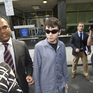 Jake Davis, alleged to be the hacker known as Topiary and a member of the hacker collective LulzSec, leaving a court appearance in London, August 1, 2011. Davis, now nineteen, pled guilty to some of the hacking charges against him earlier this year.