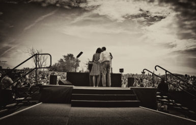 Barack and Michelle Obama at a campaign rally in Dubuque, Iowa, August 15, 2012
