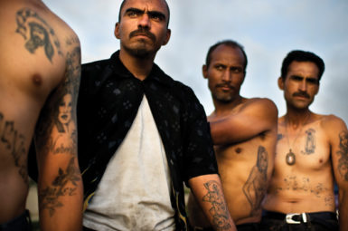 Heroin addicts in Tijuana, Mexico, some with Santa Muerte (Holy Death) tattoos, June 2009