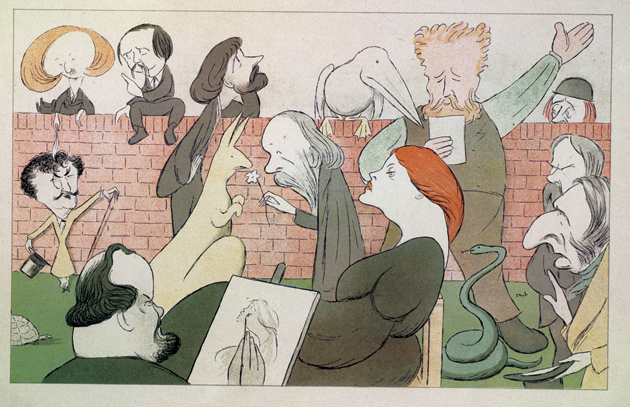 'Dante Gabriel Rossetti in his back garden'; engraving by Max Beerbohm, 1904, showing, clockwise from bottom left, Dante Gabriel Rossetti, James McNeill Whistler, Algernon Charles Swinburne, Theodore Watts-Dunton, George Meredith, Ned Jones (holding flower), Williams Morris, Hall Caine, Holly Hunt, John Ruskin, and what Beerbohm annotated as a 'Stunner,' likely Rossetti's wife and model, Elizabeth Siddal