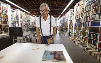 Larry McMurtry during the 'Last Book Sale' at his bookstore in Archer City, Texas, August 2012