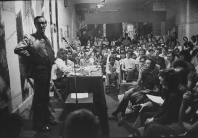 Merle Miller speaking to activists, January, 1971