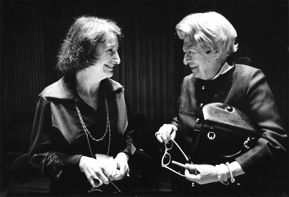 Pauline Kael with Janet Flanner at the National Book Awards, where she was honored for her film criticism, New York City, April 1974
