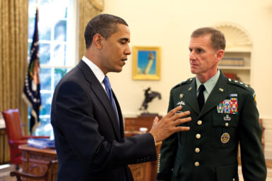 President Barack Obama and General Stanley McChrystal at the White House, May 2009