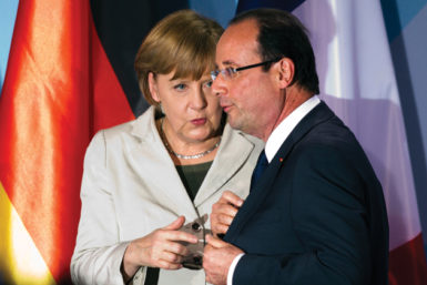 German Chancellor Angela Merkel and French President François Hollande during their first meeting after his election, Berlin, May 15, 2012