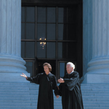 Chief Justice Warren Burger and newly appointed Justice Sandra Day O'Connor on the steps of the Supreme Court building, Washington, D.C., September 1981