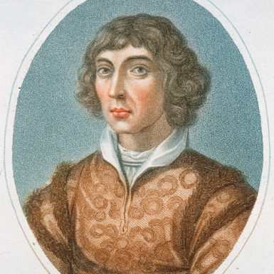 Nicolaus Copernicus with his model of the heliocentric universe