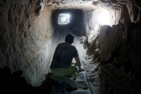 An underground tunnel beneath the city of Rafah connecting Gaza to Egypt, June 27, 2010