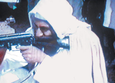 Osama bin Laden in a video reported to have been filmed at the al-Qaeda training camp al-Farouq, Afghanistan