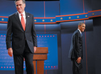 Mitt Romney and Barack Obama at the beginning of the first presidential debate, Denver, October 3, 2012