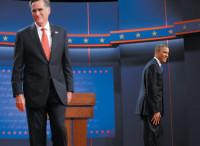 Mitt Romney and Barack Obama at the beginning of the first presidential debate, Denver, October 3, 2012