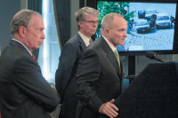 New York City Mayor Michael Bloomberg, District Attorney Cyrus Vance, and Police Commissioner Raymond Kelly at a press conference announcing the arrest of Ahmed Ferhani and Mohamed Mamdouh on terrorism charges, May 12, 2011