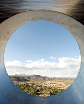 View of the New Mexico desert through the aperture of Charles Ross's earthwork Star Axis; from the monograph Charles Ross: The Substance of Light, which covers four decades of his work. It includes essays by Thomas McEvilley and Klaus Ottmann, as well as an interview with Ross by Loïc Malle, and has just been published by Radius Books.