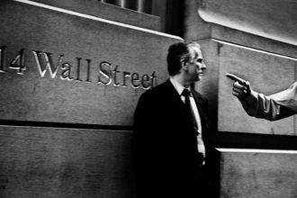 Outside the Bankers Trust Company Building after the collapse of Lehman Brothers, 2008