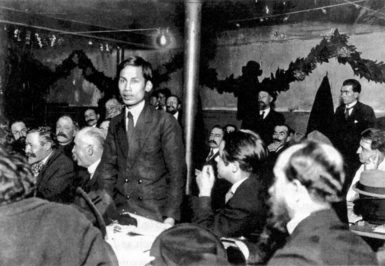 Nguyen Ai Quoc (before he took the name Ho Chi Minh) at the Congress of the French Socialist Party, Tours, December 29, 1920