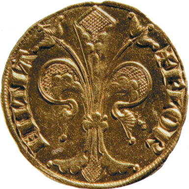 A Florentine gold florin, stamped with an image of a lily, 1252–1303