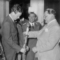 Charles Lindbergh examining a sword with Hermann Göring, August 1936