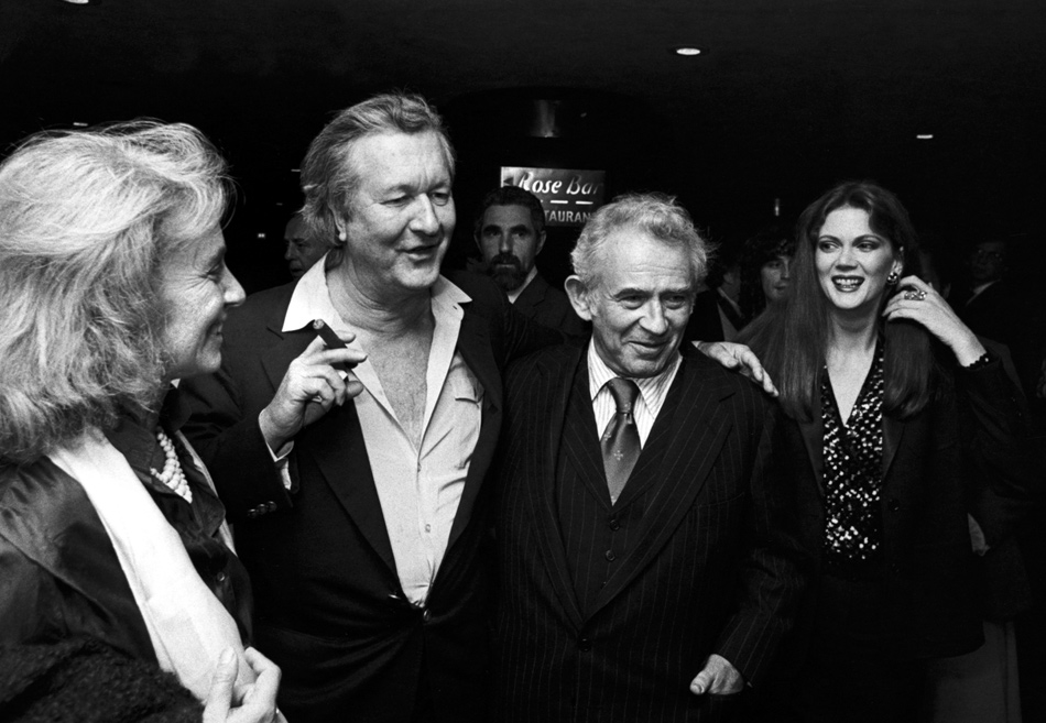 Rose Styron, Bill Styron, Norman Mailer, and Norris Church Mailer at the party for the tenth anniversary of Poets & Writers, New York City, 1980