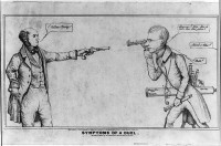 Symptoms of a Duel, an 1839 caricature of a standoff between Congress and the Treasury Department, with Treasury Secretary Levi Woodbury (left) saying,