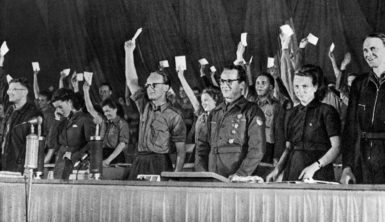 The East German Communist youth organization Free German Youth electing Erich Honecker (third from right) as chairman, Berlin, 1946