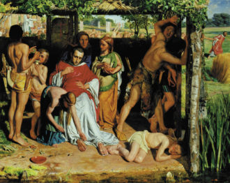 William Holman Hunt: A Converted British Family Sheltering a Christian Missionary from the Persecution of the Druids, 1849–1850