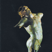 <i>Dancing Satyr</i>, Greek bronze with alabaster eyes, fourth century BC