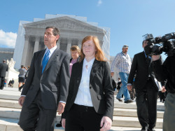 Abigail Fisher, the plaintiff in <i>Fisher</i> v. <i>University of Texas</i>, outside the Supreme Court with Edward Blum, who runs a project that seeks to end affirmative action, October 10, 2012