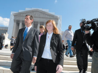 Abigail Fisher, the plaintiff in Fisher v. University of Texas, outside the Supreme Court with Edward Blum, who runs a project that seeks to end affirmative action, October 10, 2012