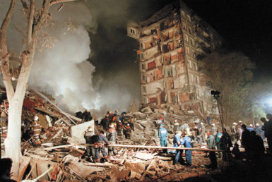 A destroyed apartment building at the site of one of the Moscow bombings, September 9, 1999