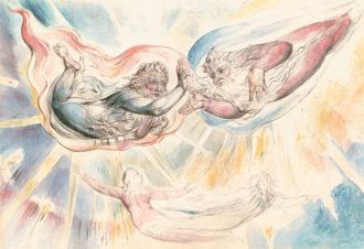 William Blake: Saint Peter and Saint James with Dante and Beatrice, circa 1824–1827
