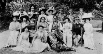 King Nikola and his family at the time of the proclamation of the Kingdom of Montenegro, 1910. In the foreground, reclining, is the king's grandson, Crown Prince Aleksandar of Serbia, who later became the first king of Yugoslavia.