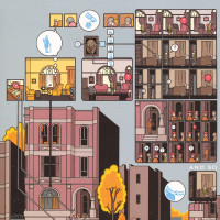 Detail from a page of Chris Ware's Building Stories, showing the 'girl' in red at bottom left and the 'married couple' on the steps of the building. The top and right of the image show the 'old lady' who owns the building, both in the present and in her memories of her younger days.