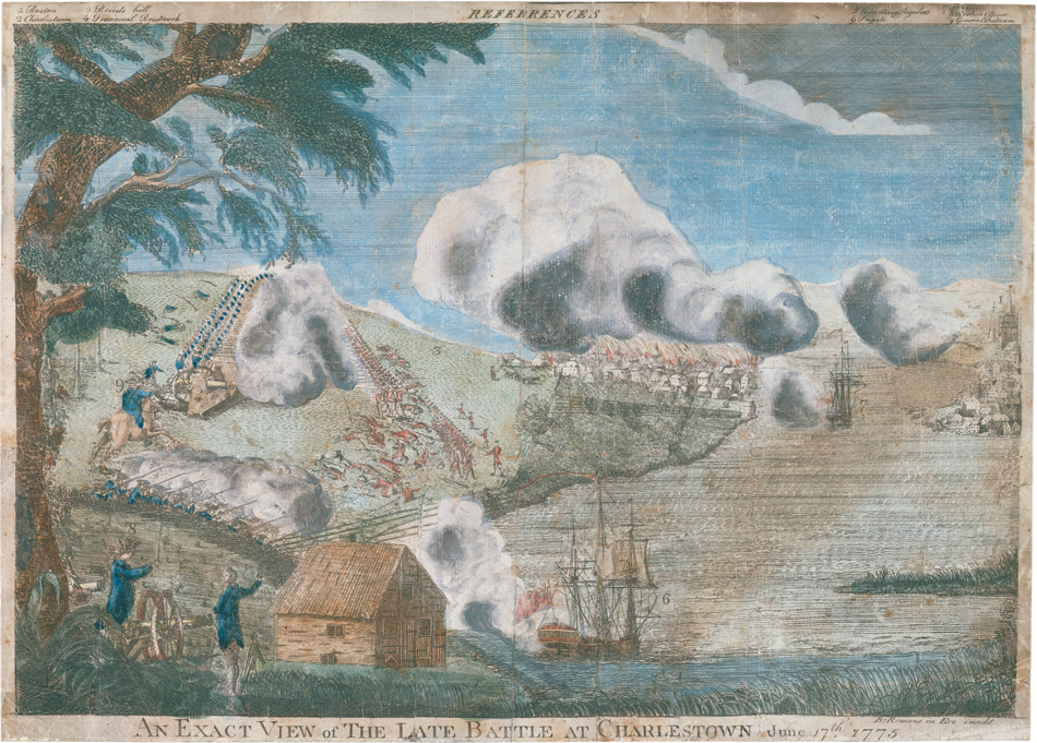 Etching of the Battle of Bunker Hill, fought on Boston's Charlestown peninsula, 1775