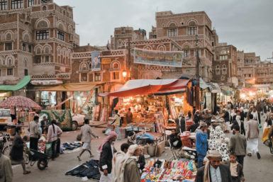 The market and Old City in Sanaa, Yemen, March 2011