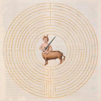 'The Minotaur in the Labyrinth'; from Lambert's Liber Floridus, circa 1448
