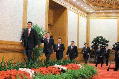 The new members of China's Politburo Standing Committee arriving to meet with the press, Beijing, November 15, 2012. From left: Xi Jinping, Li Keqiang, Zhang Dejiang, Yu Zhengsheng, Liu Yunshan, Wang Qishan, and Zhang Gaoli.