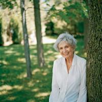 Alice Munro in her backyard, Clinton, Ontario, circa 2004