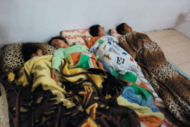 Israeli children sleeping in a shelter near the Gaza border during rocket attacks after the targeted killing of Hamas military chief Ahmed al-Jabari, November 14, 2012