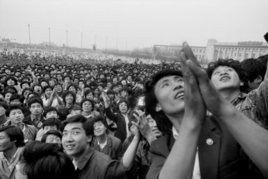 Students protesting in Tiananmen Square following the death of former Communist Party leader Hu Yaobang, Beijing, April, 1989